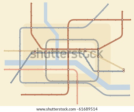 Editable vector illustration of a generic subway train map - stock vector