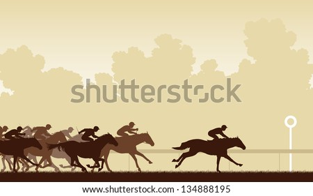 Editable vector illustration of a horse race with one horse and jockey about to win - stock vector