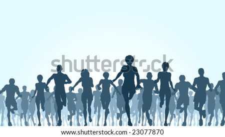 Editable vector illustration of a large group of people running
