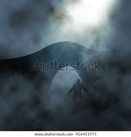 Editable vector illustration of a large man waiting under a bridge in foggy conditions created using gradient meshes