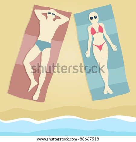 Editable vector illustration of a man and woman sunbathing on beach towels - stock vector