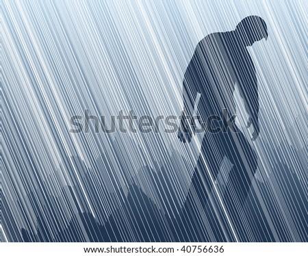Editable vector illustration of a man walking in torrential rain - stock vector
