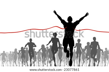 Editable vector illustration of a man winning a race - stock vector