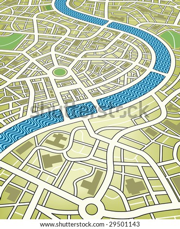 Editable vector illustration of a nameless street map from an angled perspective - stock vector