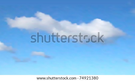 Editable vector illustration of a single cloud in a blue sky made with a gradient mesh - stock vector