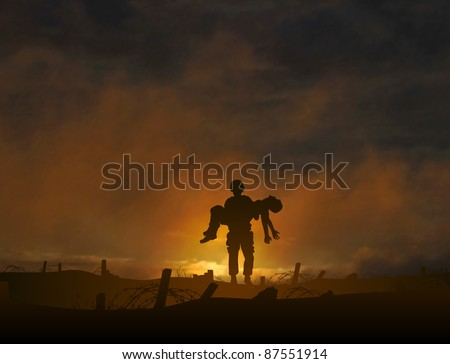 Editable vector illustration of a soldier carrying a wounded comrade with background made using a gradient mesh - stock vector