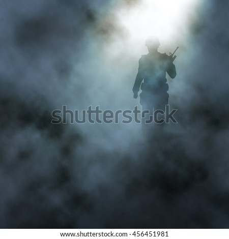 Editable vector illustration of a soldier walking in a smoky battlefield created using gradient meshes