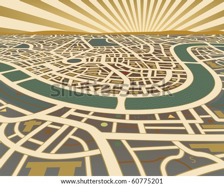 Editable vector illustration of a street map landscape - stock vector