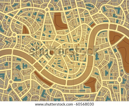 Editable vector illustration of a street map without names - stock vector