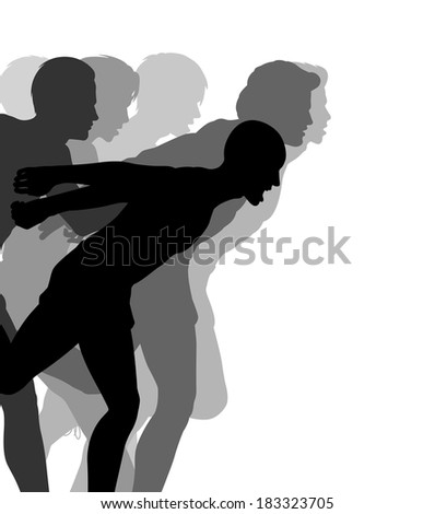 Editable vector illustration of a very close finish in a men's race - stock vector