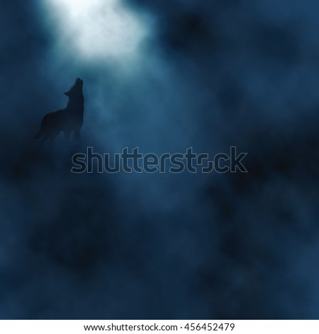 Editable vector illustration of a wolf howling at the moon in a misty atmosphere created using gradient meshes