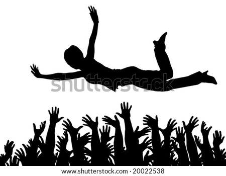 Editable vector illustration of a woman being caught by many hands with all arms as separate objects - stock vector