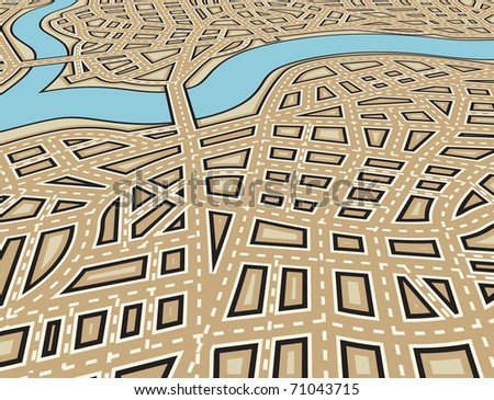 Editable vector illustration of an angled generic street map with no names - stock vector