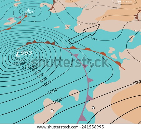 Editable vector illustration of an angled generic weather map showing a storm depression - stock vector