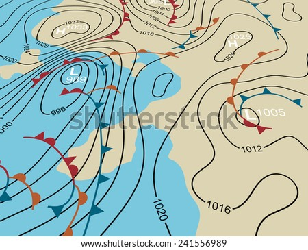 Editable vector illustration of an angled generic weather system map - stock vector