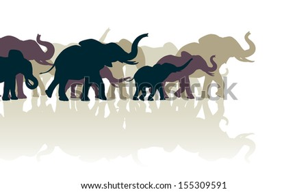 Editable vector illustration of an elephant herd with reflections - stock vector