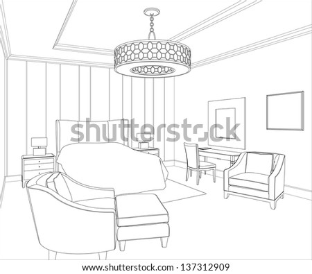 Editable vector illustration of an outline sketch of a bedroom interior - stock vector
