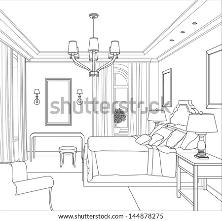 Line drawing house stock photos images pictures for 3d bedroom drawing