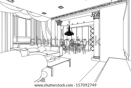 how to draw a 3d sketch of a dining room