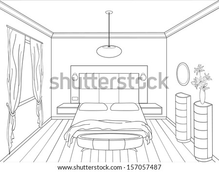 Editable vector illustration outline sketch interior stock for Bedroom designs sketch