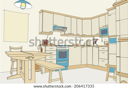 Editable vector illustration of an outline sketch of a kitchen interior - stock vector