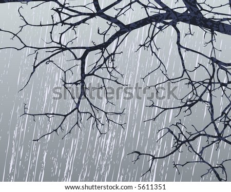 Editable vector illustration of bare branches in winter weather - stock vector