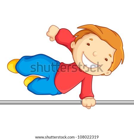 Editable vector illustration of boy crossing over a high bar - stock vector