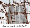 Editable vector illustration of building behind barbed wire with building and wire as separate objects - stock photo