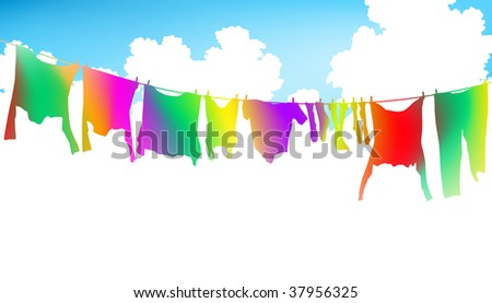 Editable vector illustration of colorful clothes on a washing line - stock vector