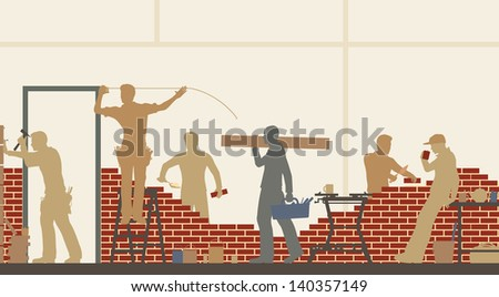 Editable vector illustration of construction workers at a building site - stock vector