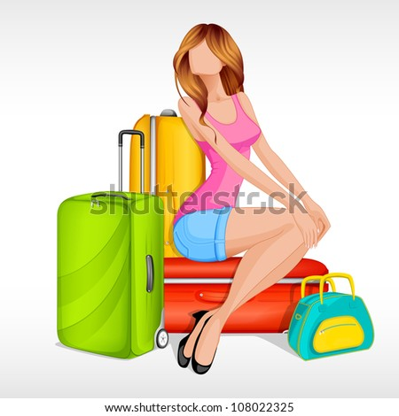 Editable vector illustration of girl sitting with baggage - stock vector