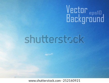 Editable vector illustration of high misty clouds in a blue sky made with a gradient mesh - stock vector