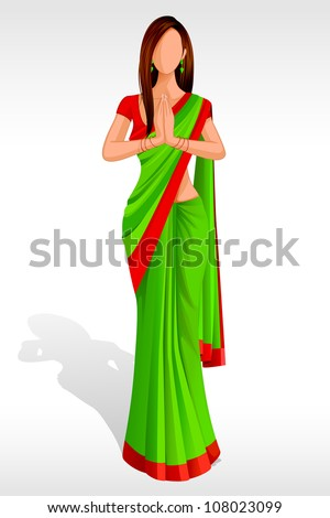 Editable vector illustration of Indian Lady greeting - stock vector