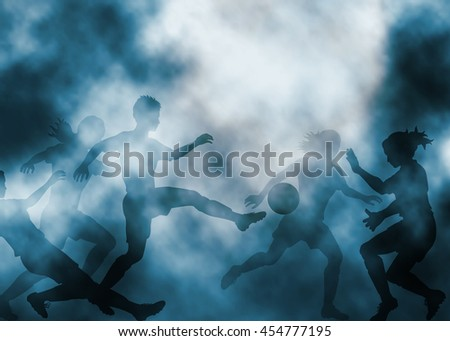 Editable vector illustration of ladies football match in a misty atmosphere created using gradient meshes - stock vector
