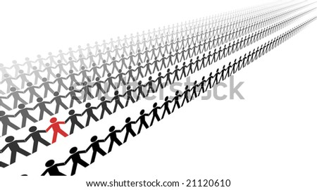 Editable vector illustration of lines of papermen - stock vector