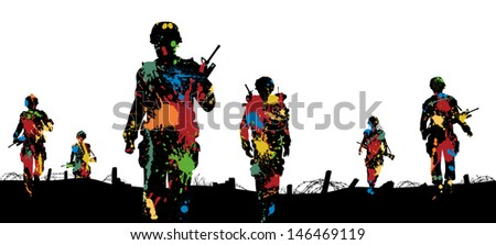 Editable vector illustration of paint splattered soldiers walking on patrol - stock vector