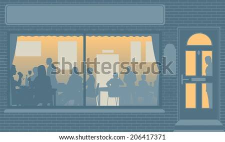 Editable vector illustration of people eating through a restaurant window - stock vector