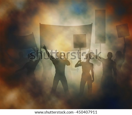 Editable vector illustration of people protesting in a smoky atmosphere created using gradient meshes