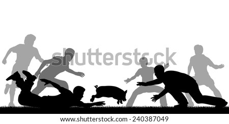 Editable vector illustration of people trying to catch a slippery greased piglet - stock vector
