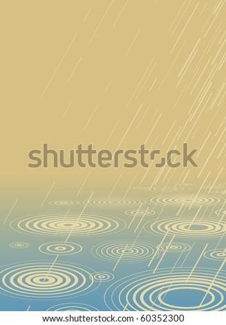 Editable vector illustration of rain falling into water - stock vector