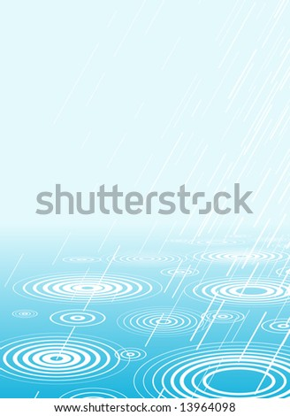 Editable vector illustration of rain falling into water with copy-space - stock vector
