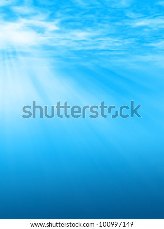 Editable vector illustration of sunlight beams underwater or through clouds made using a gradient mesh - stock vector
