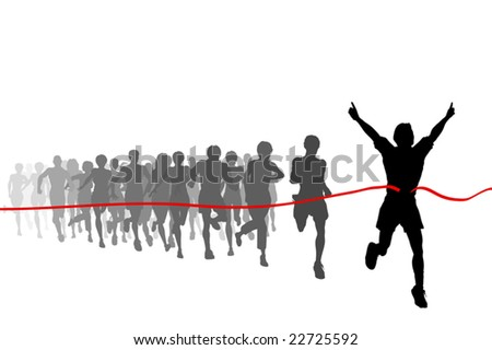 Editable vector illustration of the winner of a race with all figures as separate objects - stock vector
