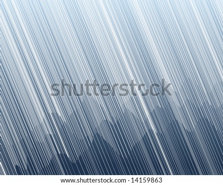 Editable vector illustration of torrential rain in a mountain landscape - stock vector
