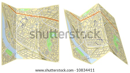 Editable vector illustration of two folded generic maps with no names - stock vector