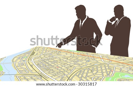 Editable vector illustration of two men standing by a generic city map - stock vector