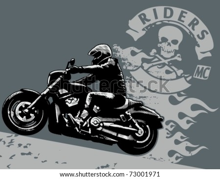 Editable vector illustration with rider. White areas are cut away and black areas merged. - stock vector