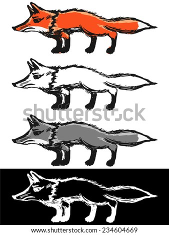 Editable vector illustrations in variations, red fox