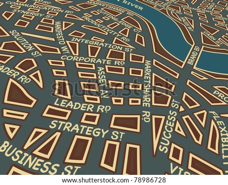 Editable vector map of a generic city with business street names - stock vector