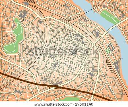 Editable vector map of a generic city with no names - stock vector